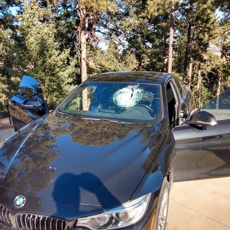 BMW Broken Windshield from Concrete